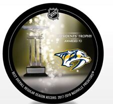 2018 NASHVILLE PREDATORS PUCK PRESIDENTS TROPHY MOST WINS NHL STANLEY CUP FINALS