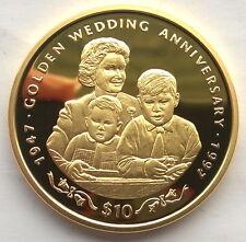 Sierra Leone 1997 Queen Family 10 Leones Gild Silver Coin,Proof