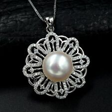 12m White Freshwater Pearl CZ Pendant Necklace Chain 925 Sterling Silver 07467
