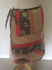 Next Size 10 Wrap Skirt brown multicolored floral tie at side holidays