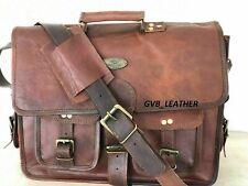 Bag Satchel Laptop Briefcase Vintage School Academy Genuine Leather Messenger