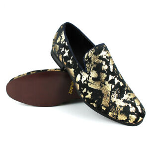 ÃZARMAN Men's Slip On Velvet Black & Gold Leopard Print Dress Shoes Loafers LS21