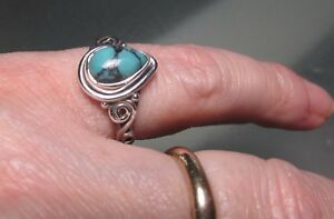 Sterling silver everyday natural turquoise stone ring UK P/US 7.75