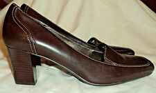 New Naturalizer Brown Leather Heels Women's Size 9 W  Slip-on Traveler