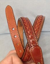 "VTG LEEGIN Western Brown Genuine Leather Belt Strap Braid Sz 28 -3/4"" Wide USA"