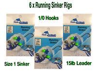 6 Running Sinker Whiting Fishing Rigs - 1/0 Octopus Hook Size 1 Sinker 15lb Rig