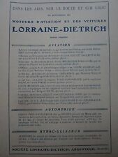 1926 PUB LORRAINE DIETRICH MOTEUR AVIATION AUTOMOBILE HYDROGLISSEUR ORIGINAL AD
