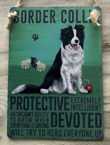 Border Collie - Vintage Retro Shabby Chic Mini Metal Dog Plaque Sign