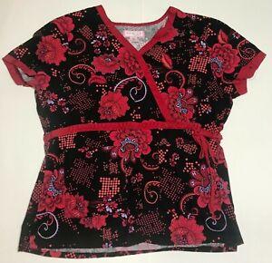 KOI by Kathy Peterson Women's XL Core Ashley Scrub Top Wrap Black Red Floral 115