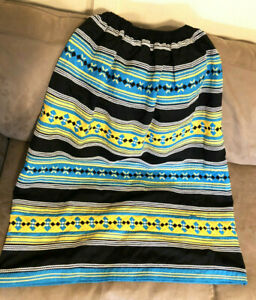 NEW Authentic 4-band Seminole Patchwork Long Skirt, BLACK (Elastic Waist)