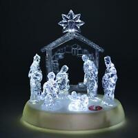 Pre-Lit LED Light Up Musical Merry Christmas Nativity Scene Xmas Home Decoration