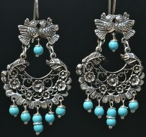 MEXICAN TAXCO 925 SILVER JEWELRY LOVE KISSING BIRDS EARRINGS FRIDA KAHLO STYLE
