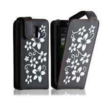 Housse coque etui pour LG Optimus 2X motif fleurs couleur noir + film protecteur