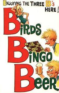 VINTAGE RUDE COMIC BAMFORTH ENJOYING 3 B's BIRDS BINGO BEER POSTCARD - UNUSED