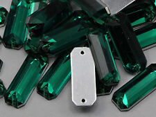 19x7mm Green Emerald CH18 Baguette Flat Back Sew On Craft Gems - 50 Pieces