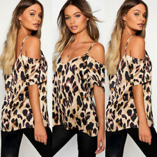 Women's Leopard print T Shirt Summer Cold Shoulder Tops Sexy Casual Loose Blouse
