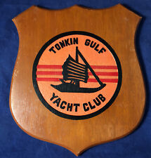 Vintage Tonkin Gulf Yacht Club Wooden Plaque 1970's Vietnam Hand Carved Painted