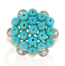 Yellow Gold Turquoise & Diamond Ring - 10k Beaded Flower Cluster