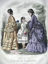 GRAVURE ANCIENNE MODE 19e - JOURNAL DES DEMOISELLES - TOILETTES D'ETE -JUIN 1871