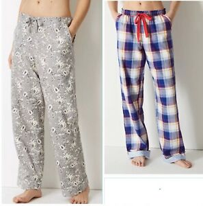 M&S Womens Printed Pyjama Nightwear Lounge Bottoms PURE COTTON Pants 20 12
