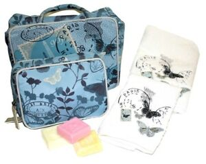 Travel Pack Gift Set - Butterfly Toiletry Bag Cosmetic Bag Towel Facewasher Soap