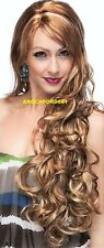 LONG WAVY LAYERED WITH BANGS BLONDE MIX FULL WIG HAIR PIECE #RS29