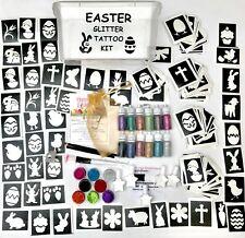 EASTER GLITTER TATTOO KIT 288 LARGE stencils 20 glitters FUNDRAISING SCHOOL