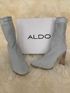 ALDO Women's 6 Silver Ankle Boots Slip On High Heels Lovelyy Love Booties $120