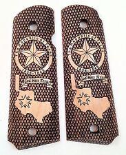 Colt 1911 custom engraved wood grips  Republic of Texas Lone Star