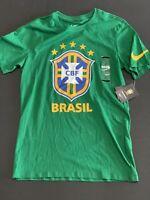 Nike Brasil CBF Crest Tee T-Shirt Men's Sz Small S Green Yellow Soccer Football