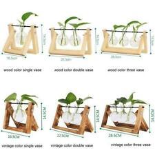 NEU Glass and Wood Vase Planter Terrarium Table Desktop Hydroponics Bonsai F5A7