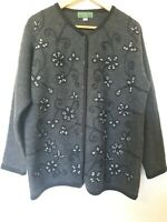 True Vintage Equorian Wool Embroidered Cardigan Jumper Top Size M 14 16