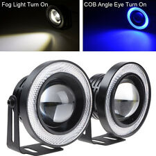 "2 Pcs 2.5"" Projector LED Car SUV Driving Fog Light COB Blue Angel Eye Halo Rings"