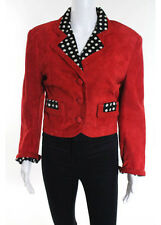 CHEAP AND CHIC MOSCHINO Red Suede Polka Dot Notched V Neck Blazer Sz IT 42
