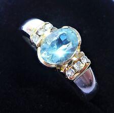 Platinum Aquamarine & Diamond Ring, Size L, Heavy 6.4g