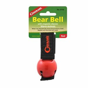 Coghlan's Bear Bell Red w/Magnetic Silencer & Loop Strap Warns Animals Hiking