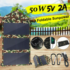 50W 5V Foldable Solar Panel Dual USB Power Bank Camping Hiking Phone Charger