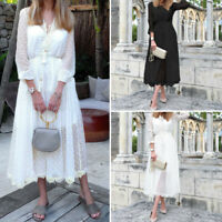 Women Baggy Long Sleeve See Through Two-Piece Set Party Dresses Long Maxi Dress
