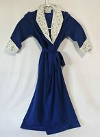Vintage Vanity Fair Women's Blue Robe with Lace Detailing Size Petite Small