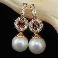 Pendientes de perlas blanco Zirconia Bañado en oro 750 18 quilates amarillo