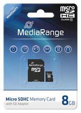 MediaRange Micro SDHC 8 GB Karte Speicherkarte mit SD Adapter Class 10