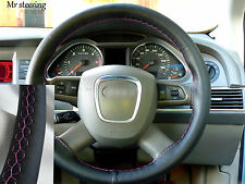 Si adatta AUDI A3 04-10 Real BLACK ITALIAN LEATHER steering wheel cover rosa cuciti