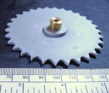 Sprocket for plastic chain - 30 teeth - 80mm diameter - brass hub 4mm bore