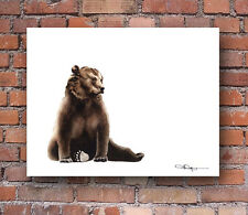 Brown Bear Watercolor Painting Art Print by Artist DJ Rogers