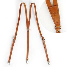 "Leather Suspenders Y-Back Retro Braces Clip-On Brown Cowhide 49""~52"""