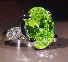Women Lady Emerald 925 Silver Rings Wedding Engagement Party Jewelry Size 9