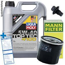 Ölwechsel Set 5L 5W-40 Öl Motoröl LIQUI MOLY + MANN Ölfilter + Ablassschraube