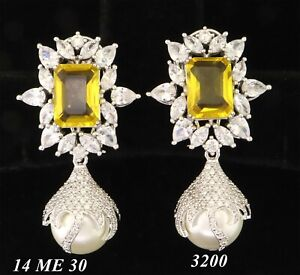 Cubic Zirconia Designer Yellow Stone Pearl Dangle Earring Set 14 ME 30