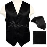 10-B MEN'S BLACK Solid Tuxedo Suit Dress Vest Waistcoat and Neck tie Hankie Set