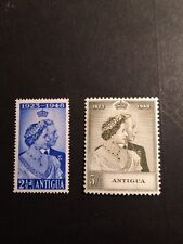 Antigua SG 112/3 Royal Silver Wedding Lightly Mounted Mint